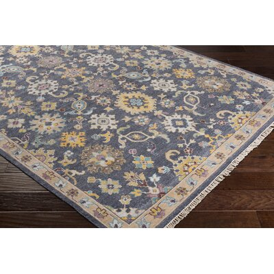 Casco Floral Hand Knotted Charcoal/Brown Area Rug Rug Size: Rectangle 6 x 9