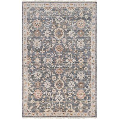 Casco Floral Hand Knotted Charcoal/Taupe Area Rug Rug Size: Rectangle 2 x 3