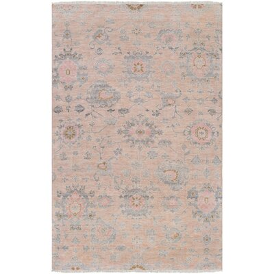 Casco Floral Hand Knotted Beige/Pale Pink Area Rug Rug Size: Rectangle 6 x 9