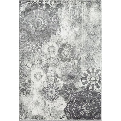 Holmstrom Distressed Floral Gray Area Rug Rug Size: Rectangle 53 x 73
