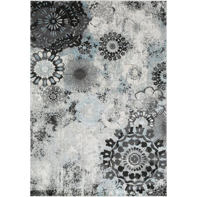 Holmstrom Distressed Floral Pale Gray/Black Area Rug Rug Size: Rectangle 53 x 73