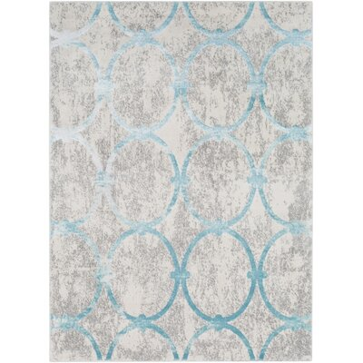 Salazar Distressed Geometric Gray Area Rug Rug Size: Rectangle 53 x 73