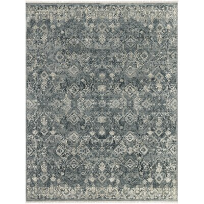 Gerhardine Hand Knotted Teal/Black Area Rug Rug Size: 10 x 14
