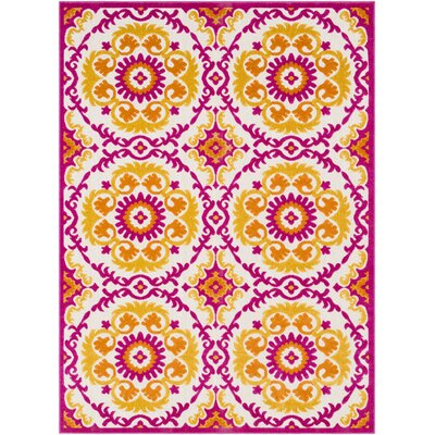 Stephen Traditional Orange/Cream Outdoor Area Rug Rug Size: 53 x 73