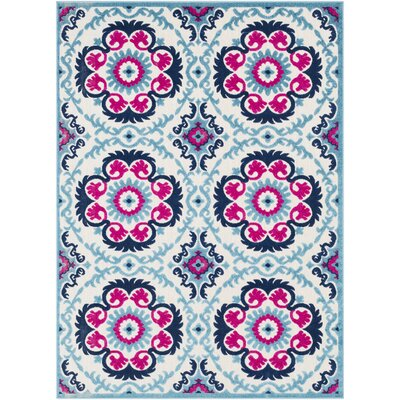 Avonmore Traditional Aqua/Cream Outdoor Area Rug Rug Size: Rectangle 2' x 3'