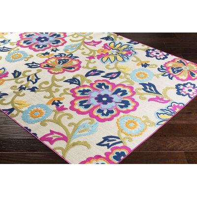 Avonmore Bright Pink/Cream Outdoor Area Rug Rug Size: Rectangle 53 x 73