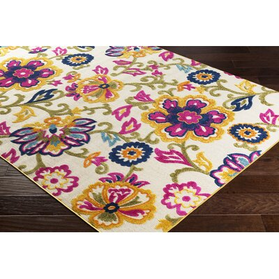 Avonmore Bright Yellow/Cream Outdoor Area Rug Rug Size: Rectangle 2 x 3