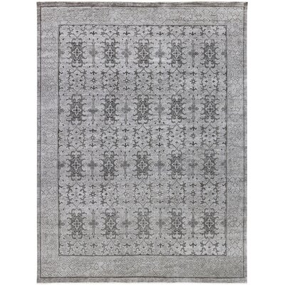 Ripon Traditional Hand Knotted Light Gray Area Rug Rug Size: 9 x 12