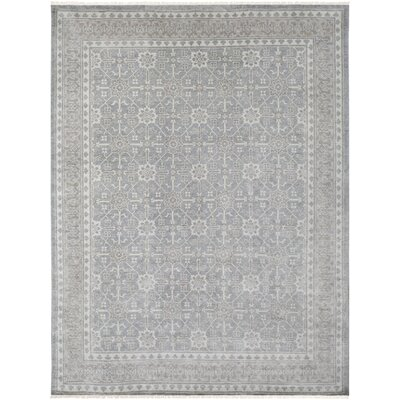 Ripon Vintage Floral Hand Knotted Light Gray Area Rug Rug Size: 9 x 12