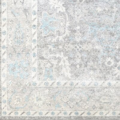 Gerhardina Vintage Floral Hand Knotted Light Gray Area Rug Rug Size: Rectangle 10 x 14