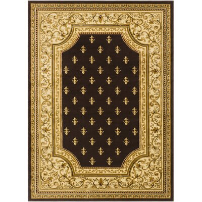 Arledge Classic Dark Brown/Khaki Area Rug Rug Size: Rectangle 93 x 126