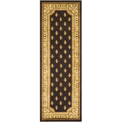 Arledge Classic Dark Brown/Khaki Area Rug Rug Size: Runner 27 x 77