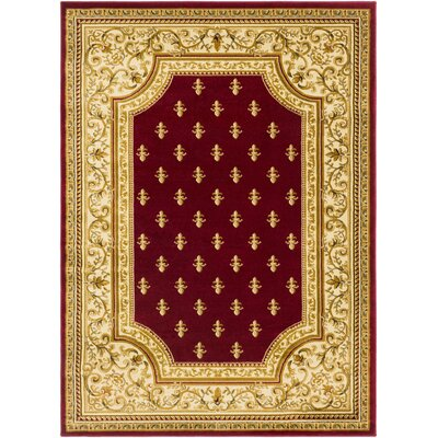 Arledge Classic Dark Red/Khaki Area Rug Rug Size: Rectangle 93 x 126