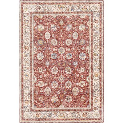 Richmond West Dark Red/Ivory Area Rug Rug Size: Rectangle 3 x 5