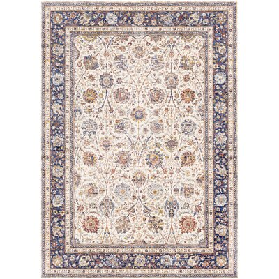 Richmond West Vintage Floral Ivory/Dark Blue Area Rug Rug Size: Rectangle 5 x 73
