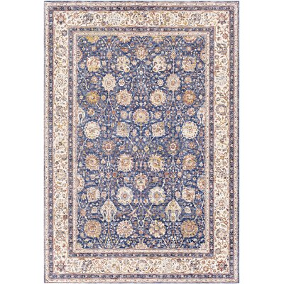 Richmond West Vintage Floral Blue/Ivory Area Rug Rug Size: Rectangle 2 x 3