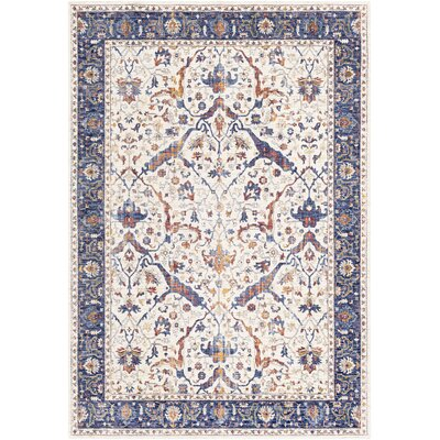 Richmond West Vintage Floral Ivory/Blue Area Rug Rug Size: Rectangle 96 x 136