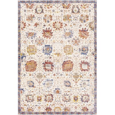 Richmond West Vintage Floral Ivory Area Rug Rug Size: Rectangle 96 x 136