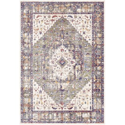 Richmond West Floral Moss/Ivory Area Rug Rug Size: Rectangle 5 x 73