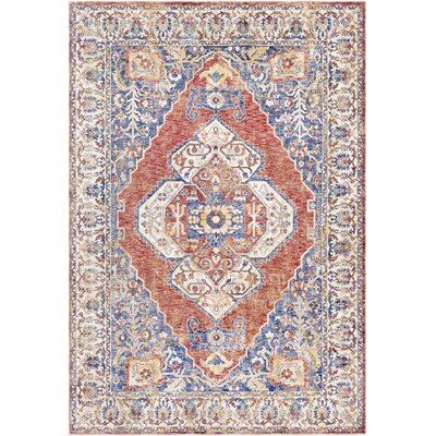 Richmond West Traditional Vintage Floral Blue/Orange Area Rug Rug Size: Rectangle 2 x 3
