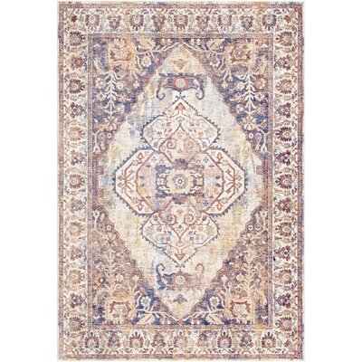 Richmond West Vintage Blue/Camel Area Rug Rug Size: Rectangle 7'10