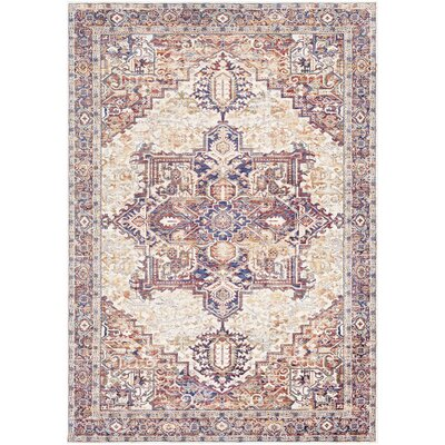 Richmond West Oriental Orange/Navy Area Rug Rug Size: Rectangle 96 x 136