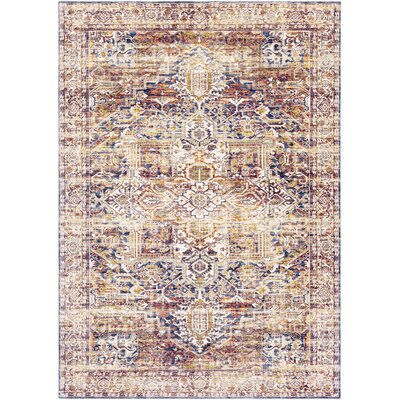 Richmond West Vintage Distressed Camel/Blue Area Rug Rug Size: Rectangle 2' x 3'
