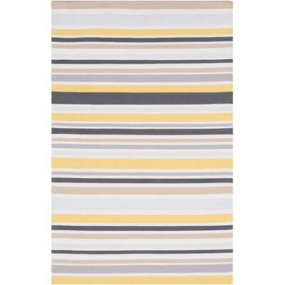 Bybrook Hand Woven Light Gray/Yellow Area Rug Rug Size: 2 x 3