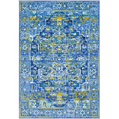Ryhill Dark Blue/Pale Blue Area Rug Rug Size: Rectangle 53 x 73