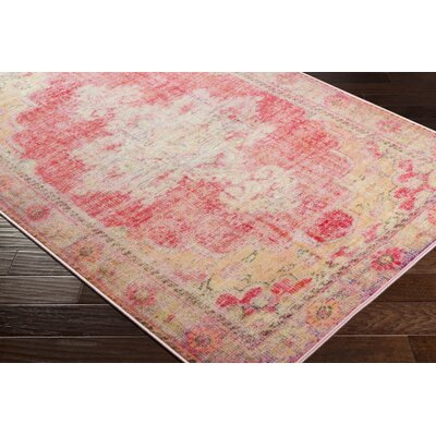 Ryhill Floral Bright Pink/Pale Pink Area Rug Rug Size: Rectangle 2 x 3
