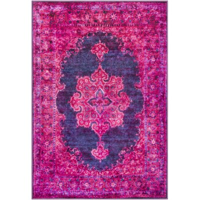 Ryhill Bright Pink/Dark Purple Area Rug Rug Size: Rectangle 53 x 73
