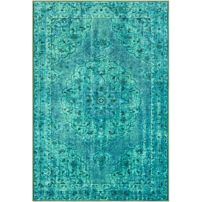 Ryhill Floral Emerald/Dark Green Area Rug Rug Size: Rectangle 53 x 73