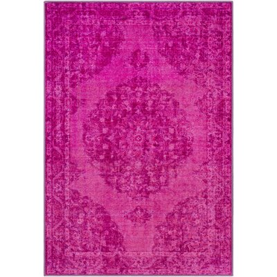 Ryhill Overdyed Floral Lilac/Bright Pink Area Rug Rug Size: Rectangle 2 x 3