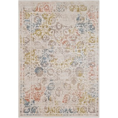 Holmes Distressed Cream/Taupe Area Rug Rug Size: Rectangle 53 x 76