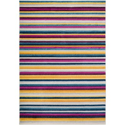 Avianna Modern Striped Yellow/Gray Area Rug Rug Size: Rectangle 2 x 3