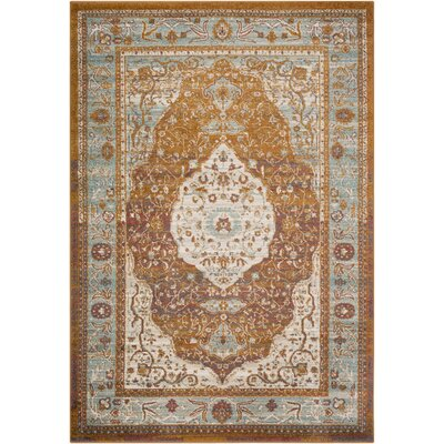 Kay Overdyed Floral Camel Area Rug Rug Size: Rectangle 53 x 76