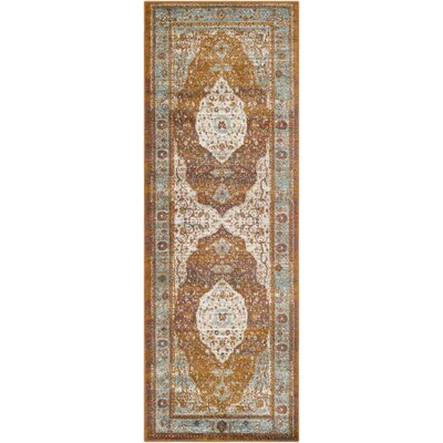 Kay Overdyed Floral Camel Area Rug Rug Size: Runner 27 x 76