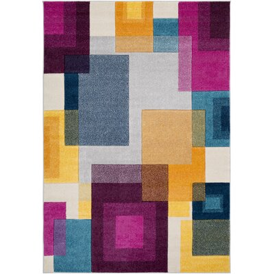 Avianna Geometric Pink/Blue/Yellow Area Rug Rug Size: Rectangle 53 x 76