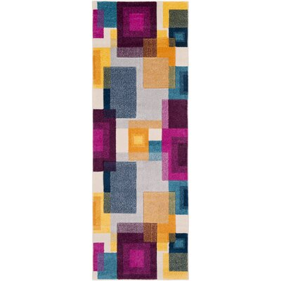 Avianna Geometric Pink/Blue/Yellow Area Rug Rug Size: Runner 27 x 76