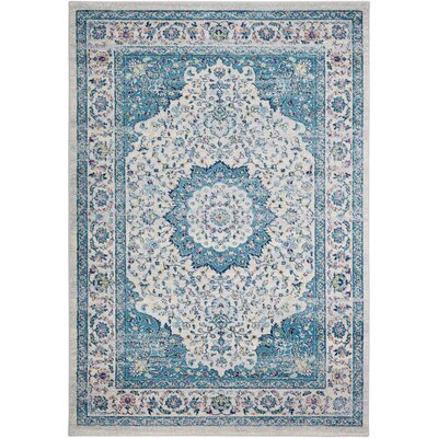 Kay Light Blue/Cream Area Rug Rug Size: Rectangle 53 x 76