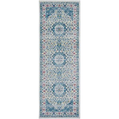 Kay Light Blue/Cream Area Rug Rug Size: Runner 27 x 76