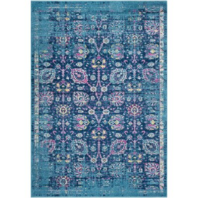 Kay Teal/Navy Area Rug Rug Size: Rectangle 53 x 76