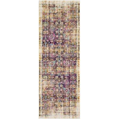 Kay Distressed Purple/Brown Area Rug Rug Size: Runner 27 x 76