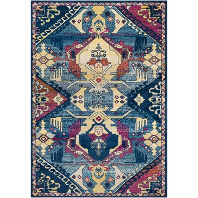 Kay Blue/Pink/Khaki Area Rug Rug Size: Rectangle 53 x 76
