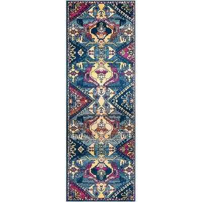Kay Blue/Pink/Khaki Area Rug Rug Size: Runner 27 x 76