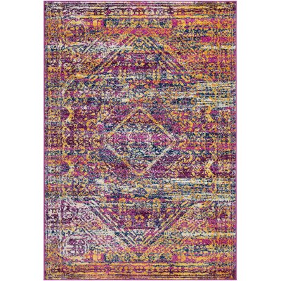 Kay Distressed Magenta/Gold Area Rug Rug Size: Rectangle 2 x 3