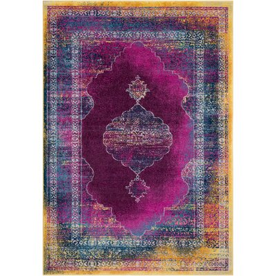 Kay Overdyed Distressed Dark Blue/Magenta Area Rug Rug Size: Rectangle 2 x 3