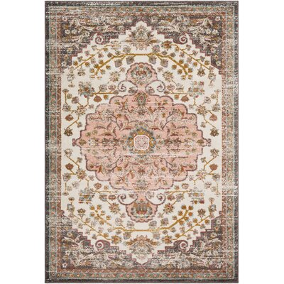 Kay Light Pink/Camel Area Rug Rug Size: Rectangle 2 x 3