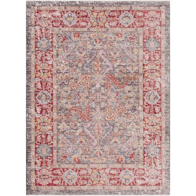 Eagle Harmor Distressed Gray/Dark Red Area Rug Rug Size: Rectangle 53 x 73