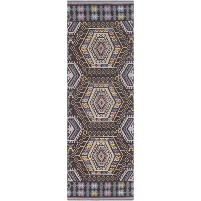 Sturbridge Hand Woven Sky Blue/Black Outdoor Area Rug Rug Size: Runner 26 x 8